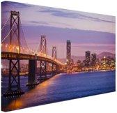 Avondlicht San Francisco Canvas 80x60 cm - Foto print op Canvas schilderij (Wanddecoratie woonkamer / slaapkamer) / Steden Canvas Schilderijen