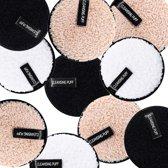7 x Magic Microfiber Cleansing puffs inclusief diadeem en waszakje – make up eraser pads – wasbare wattenschijfjes – make up remover pads – reinigingsdoekjes - Oogmake-upreiniging