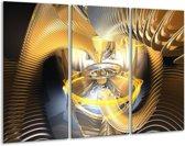 Glasschilderij Abstract   Geel, Goud, Bruin   120x80cm 3Luik   Foto print op Glas    F000959