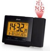 Alecto AK-50 Digitale wekker met tijd en temperatuur projector | Wekker met snooze | Altijd de juiste tijd (DCF-gestuurde klok/RCC) | zwart