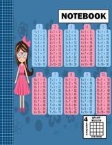 Notebook. Quad Ruled-4 Squares Per Inch: Grid Notebook/Grid Paper Journal 8.5x11 in. Graph Paper Composition - Multiplication