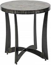 Duverger Ruf Grey Industry - Bijzettafel - Ø50cm - Massief mango - grijs - stalen gebogen kruisframe