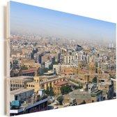 Skyline van Karachi Vurenhout met planken 90x60 cm - Foto print op Hout (Wanddecoratie)