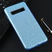 Let op type!! Voor Galaxy S10 volledige dekking TPU + PC glittery poeder beschermende Back Cover (blauw)