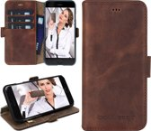 Echt Leer cover - iPhone 6 Plus hoesje - Lederen Book Case Bruin - BookCase (Antic Coffee)