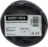 5 meter Elektrofix huishoudsnoer ovaal zwart, 2 x 0.75mm