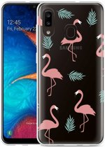 Galaxy A20 Hoesje Flamingo Pattern