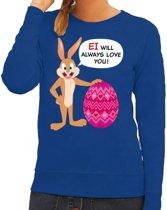Paas sweater Ei will always love you blauw voor dames 2XL
