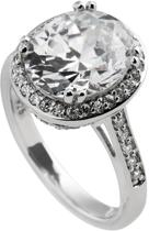 Diamonfire - Zilveren ring met steen Maat 17.0 - Ovaal - Bezette band