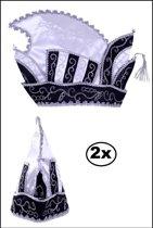 2x Prinsenmuts zwart/wit mt 63
