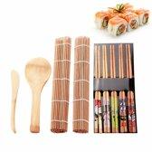 Sushi kit - Set met 5x eetstokjes, 2 x bamboe mat, lepel en mes. Maak zelf Sushi!
