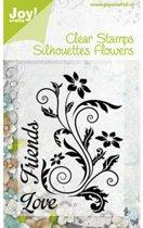 Transparante stempel silhouette bloem +teks 0091