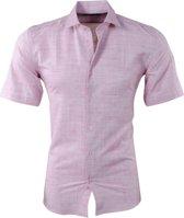 Pradz - Heren Korte Mouw Overhemd met Trendy Design - Slim Fit - Koraal