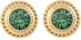 Tijdloze Goudkleurige Oorsteker Met Emerald Groene Swarovski Steen
