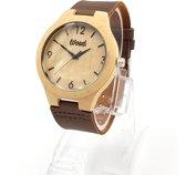 WOED | Houten Horloge met leren band | Baccara 44mm