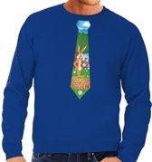 Paashaas stropdas vrolijk Pasen sweater blauw voor heren L