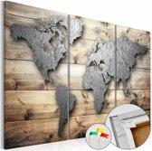 Afbeelding op kurk - De wereld op hout, wereldkaart, zilver look bruin, 3 luik , 3 maten ,