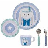 Ontbijtset konijn blauw 5-delig