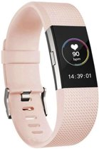 123Watches.nl Siliconen bandje - Fitbit Charge 2 - Roze - M/L