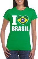 Groen I love Brazilie supporter shirt dames - Braziliaans t-shirt dames S