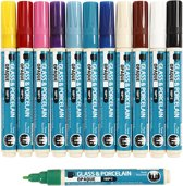 Glas- & Porseleinstiften,  2-4 mm lijn, kleuren assorti, dekkend, 12 assorti