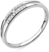 Majestine 9 Karaat Ring Witgoudkleurig (375) met Diamant 0.09ct maat 54