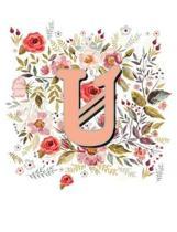 U Monogram Letter Floral Wreath Notebook