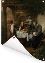 De Emmausgangers - Schilderij van Jan Steen Tuinposter 120x160 cm - Tuindoek / Buitencanvas / Schilderijen voor buiten (tuin decoratie) XXL / Groot formaat!