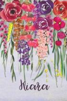 Kiara: Personalized Lined Journal - Colorful Floral Waterfall (Customized Name Gifts)