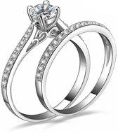 Victoria - Zilverkleurige Ringen - Australisch Bergkristal - Zirkonia Kristallen - Maat 56 (17.8mm)