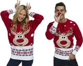 Kersttrui Rudolph Het Rendier Rood - Unisex - Maat Large