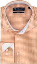 Sleeve7 Heren Overhemd Oranje Allover Ruitjes Poplin Modern Fit - 45