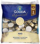 Gouda Waxinelichtjes - 8 branduren - 100 stuks - Wit