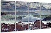 Glasschilderij Zee | Blauw, Wit, Bruin | 160x80cm 4Luik | Foto print op Glas |  F000478