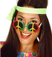 Hippie/flower power peace verkleed bril - Jaren 60 verkleed accessoires