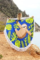Mycha Ibiza – roundie – rond strandlaken – luiaard – blauw – 100% katoen – badstof