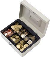 ACROPAQ Metalen Geldkist TS0130 zilver 205x160x90mm - Inleglade met 8 vakjes - 2 sleutels