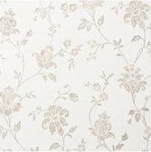 Dutch Wallcoverings vliesbehang bloem - beige/wit