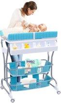 Luier Tafel Met Bad - Verzorgingstafel Op Wielen - Baby Aankleedtafel Badmeubel Aankleedkussen - Blauw