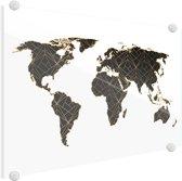 Wereldkaarten.nl - Wereldkaart Zwart Goud Lijnen Plexiglas Schilderij 90x60 cm