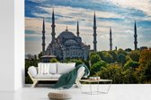 Fotobehang vinyl - De Sultan Ahmed Moskeei in Istanbul breedte 390 cm x hoogte 260 cm - Foto print op behang (in 7 formaten beschikbaar)