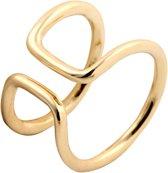 24/7 Jewelry Collection Dubbele Bar Ring Verstelbaar - Verstelbare Ring - Goudkleurig