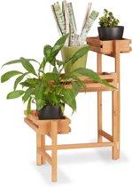 relaxdays plantenrek hout - bloemenetagère - 3 etages - plantentrap hout - beweegbaar