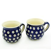 Bunzlau keramiek 2 beker-set (bolvorm) dessin Blauwe ogen 200ml