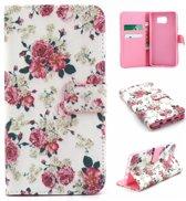iCarer Flowers print wallet case hoesje Samsung Galaxy S6 Edge
