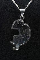 Zilveren Indiaan Kokopelli vrije stijl groot hopi style ketting hanger