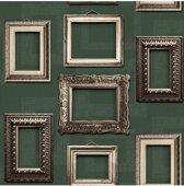 Home lijstjes donkergroen behang (vliesbehang, groen)