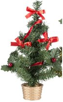 Mini kerstboompje goud met rode versiering 45 cm - mini kunst kerstboom