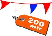 200 mtr - Vlaggenlijn rood wit blauw  - vlaggetjes - WK - koningsdag