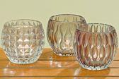 Set van 3 stuks waxinelichthouders - model: Aliza - diameter 10 cm - Glas